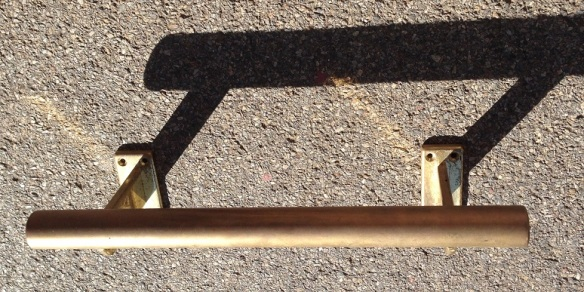 Brass bar foot rail from hotel L1625 x H145mm, also small matching foot rail L1550mm salvage recycled demolition, reproduction restoration, renovation, collectable, secondhand, used, original, old, reclaimed heritage, antique restored