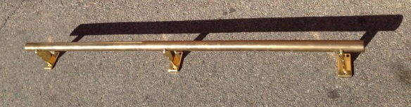 salvage recycled man cave demolition, reproduction restoration, renovation, collectable, secondhand, used, original, old, reclaimed heritage, antique restored Brass foot rail from hotel L1625 x H145mm $245 also small matching foot rail L1550mm