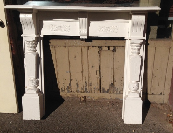 Edwardian carved timber mantel, painted $330 salvage recycled demolition, reproduction restoration, renovation, collectable, secondhand, used, original, old, reclaimed heritage, mantle mantel surround fireplace antique restored