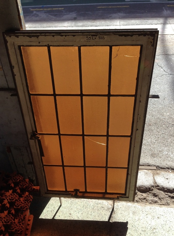 Steel metal framed windows with deep amber leadlight 550 mm x 935 mm $330 each, two available, salvage recycled demolition, reproduction restoration, renovation, collectable, secondhand, used, original, old, reclaimed heritage, antique restored