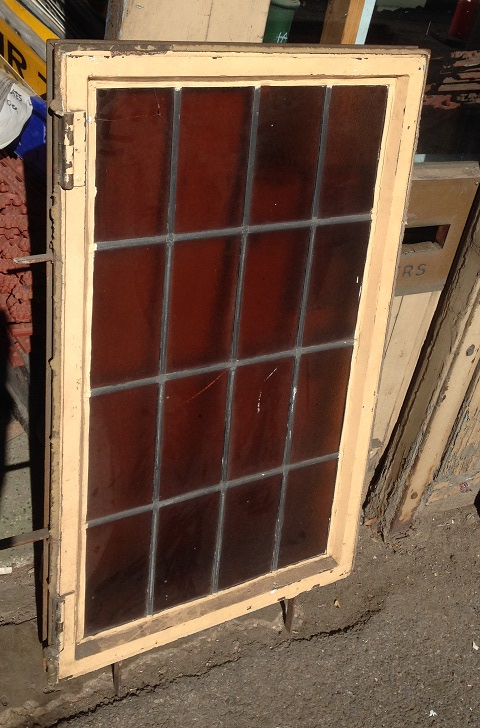 metal framed windows with leadlight 550 mm x 935 mm $330 each, two available, salvage recycled demolition, reproduction restoration, renovation, collectable, secondhand, used, original, old, reclaimed heritage, antique restored