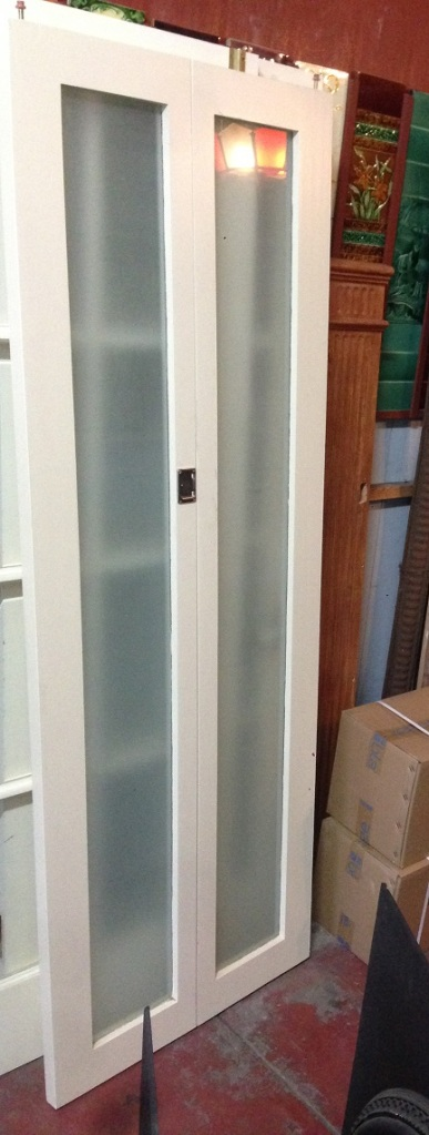 Modern timber bifold door frosted full glass panels, w700 x h2000mm $265 salvage recycled demolition, reproduction restoration, renovation, collectable, secondhand, used, original, old, reclaimed heritage, antique restored