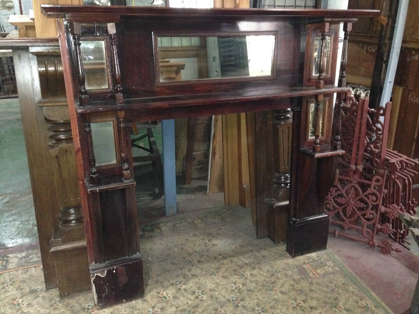 Edwardian,double shelf with turnings, timber mantel, 5 mirrors, original finish, top shelf w1530mm, $440 turnings, timber mantel, original finish, top shelf w1530mm, $440 salvage recycled demolition, reproduction restoration, renovation, collectable, secondhand, used, original, old, reclaimed heritage, mantle mantel surround fireplace antique restored