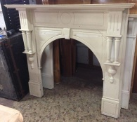 Arch timber mantel with double turnings, top shelf width 1460mm (on hold)