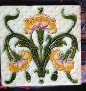 4 available stylised original carnation tiles $25 each salvage recycled demolition, reproduction restoration, renovation, collectable, secondhand, used, original, old, reclaimed heritage, antique restored