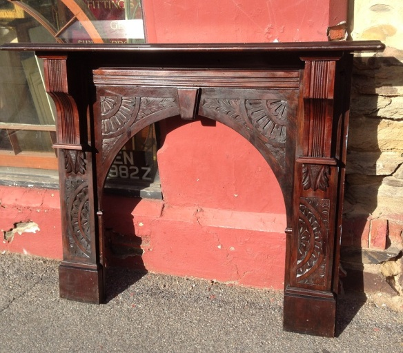 Edwardian kauri pine arch mantel, carved arches and legs, top shelf width 1530mm $550 salvage recycled demolition, reproduction restoration, renovation, collectable, secondhand, used, original, old, reclaimed heritage, antique restored