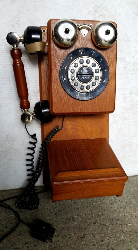Reproduction old style wall telephone, push button dial 435 x 200mm salvage recycled demolition, reproduction restoration, renovation, collectable, secondhand, used, original, old, reclaimed heritage, antique restored