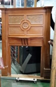Monogrammed fireplace mantel, silky oak , polished, carved SJ or JS w1485 x h2000mm $850 salvage recycled demolition, reproduction restoration, renovation, collectable, secondhand, used, original, old, reclaimed heritage, mantle mantel surround fireplace antique restored