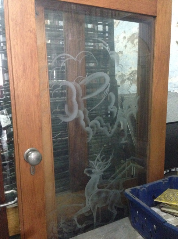 French doors, full glass etched with stags in alpine scene w1610 x h2015mm $330 salvage recycled demolition, reproduction restoration, renovation, collectable, secondhand, used, original, old, reclaimed heritage, antique restored