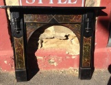Original fireplace mantel with hand painted stone effect, top shelf w1443mm $400 salvage recycled demolition, reproduction restoration, renovation, collectable, secondhand, used, original, old, reclaimed heritage, mantle mantel surround fireplace antique restored