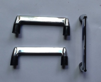 Original 50s cupboard handles, nickel plate and black plastic base, rocket shape on sides. 85 x 27 x 11mm, (some need paint removed) 52 available at 26/7/17, $4 each salvage recycled demolition, reproduction restoration, renovation, collectable, secondhand, used, original, old, reclaimed heritage, antique restored
