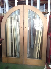 Arch French doors, full glass timber frame, 2365 x 1770 $440 salvage recycled demolition, reproduction restoration, renovation, collectable, secondhand, used, original, old, reclaimed heritage, antique restored