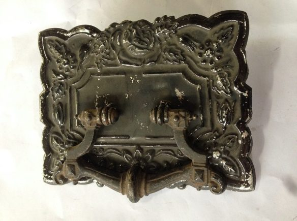 Coffin handles, cast iron handle, pressed tin plate 195 x 150mm, 4 available $15 each
