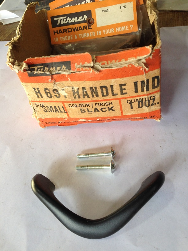 boomerang shaped cupboard handle, original Turner hardware brand, sealed in packets, new old stock with screws, 90mm wide x 4 available, $5 each salvage recycled demolition, reproduction restoration, renovation, collectable, secondhand, used, original, old, reclaimed heritage, antique restored