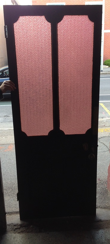 Pink glass panelled end of passage door, 805 x 2020mm $545 salvage recycled demolition, reproduction restoration, renovation, collectable, secondhand, used, original, old, reclaimed heritage, antique restored