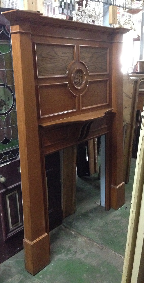 Society of Jesus fireplace mantel, silky oak , polished, carved SJ in central circle w1485 x h2000mm $850 Monogrammed fireplace mantel, silky oak , polished, carved SJ or JS w1485 x h2000mm $850 salvage recycled demolition, reproduction restoration, renovation, collectable, secondhand, used, original, old, reclaimed heritage, mantle mantel surround fireplace antique restored