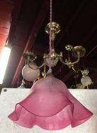 Original pendant light, pink shade finely etched diam 225mm, $125