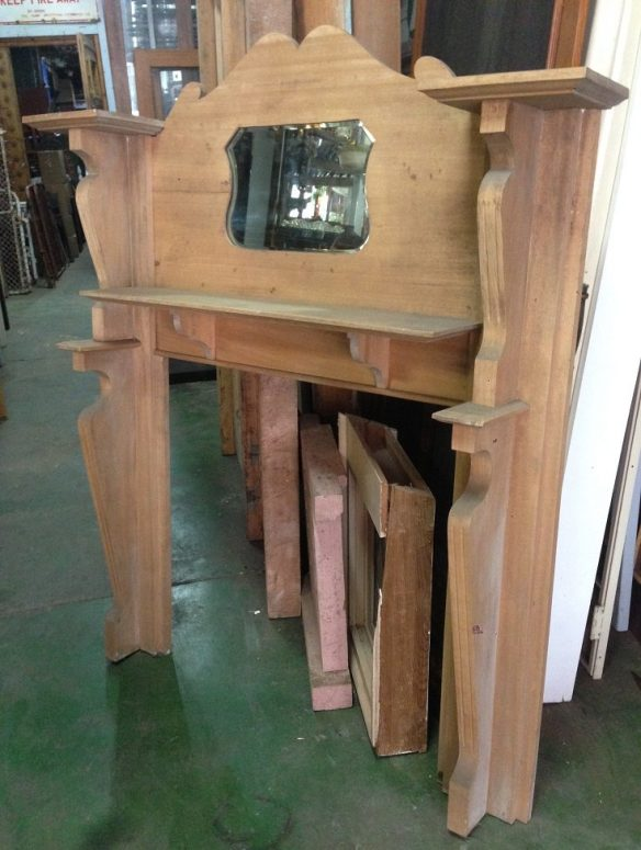 1920s stripped timber fireplace mantel with shield mirror, width 1460mm, height 1690mm, $670 salvage recycled demolition, reproduction restoration, renovation, collectable, secondhand, used, original, old, reclaimed heritage, mantle mantel surround fireplace antique restored