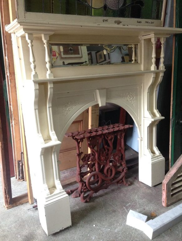 Double shelf Edwardian timber fireplace mantel, painted, top shelf width w1470 x h 1520mm $450 salvage recycled demolition, reproduction restoration, renovation, collectable, secondhand, used, original, old, reclaimed heritage, mantle mantel surround fireplace antique restored
