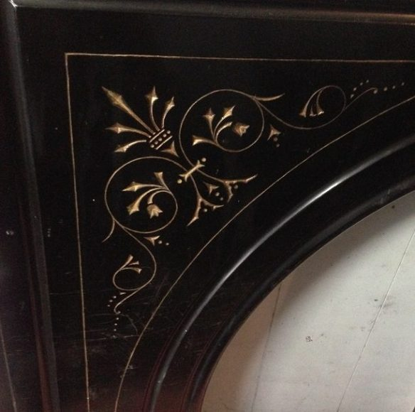 Slate arch fireplace surround / mantel, original with carved detail gilt painted $1850