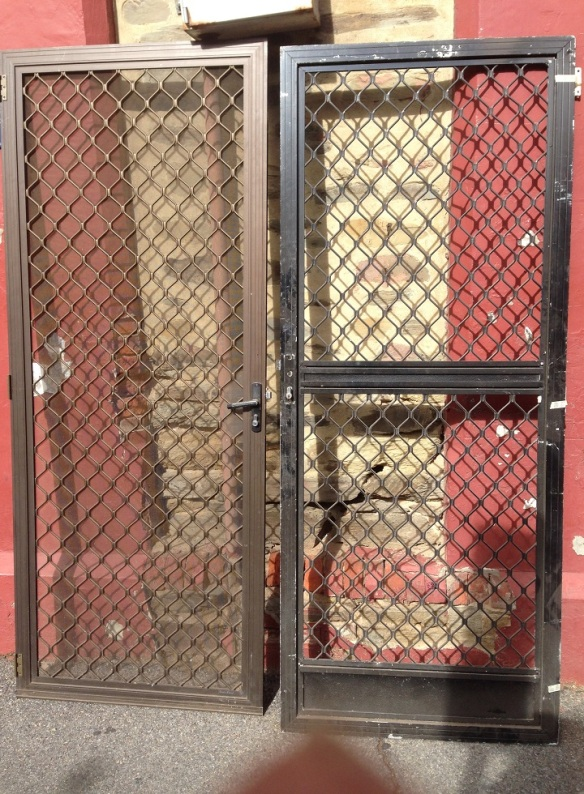 Security screen doors x 2 $5 each no keys, salvage recycled demolition, reproduction restoration, renovation, collectable, secondhand, used, original, old, reclaimed heritage, antique restored