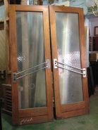 Original shop French doors, full textured glass, Art Deco angled double bar handles w1550 x h2300mm $580 salvage recycled demolition, reproduction restoration, renovation, collectable, secondhand, used, original, old, reclaimed heritage, antique restored