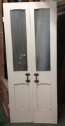 French door pair with ornate handles, etched glass panels, approx. w 860 x h1973mm salvage recycled demolition, reproduction restoration, renovation, collectable, secondhand, used, original, old, reclaimed heritage, antique restored