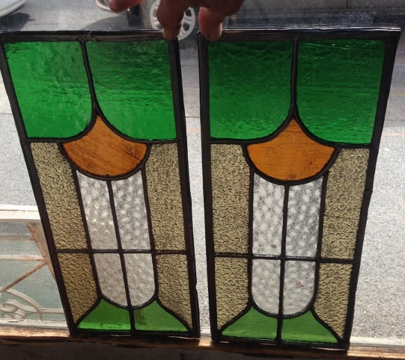 Original leadlight windows 215 x 505mm $165 salvage recycled demolition, reproduction restoration, renovation, collectable, secondhand, used, original, old, reclaimed heritage, antique restored