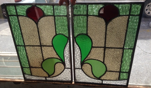 Leadlight windows x 2 available 335 x 510, $175 each salvage recycled demolition, reproduction restoration, renovation, collectable, secondhand, used, original, old, reclaimed heritage, antique restored