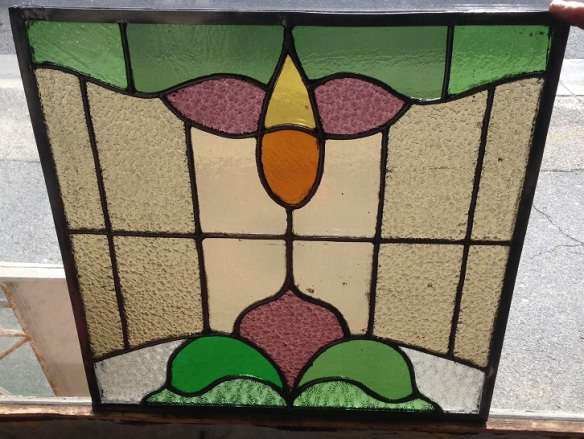 Original leadlight window panel 515 x 570mm $220 salvage recycled demolition, reproduction restoration, renovation, collectable, secondhand, used, original, old, reclaimed heritage, antique restored