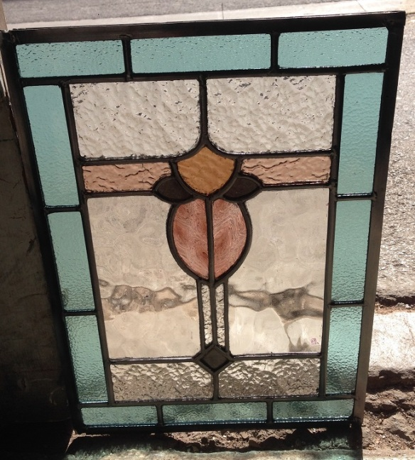 Original leadlight window panel, pale blue and dusky pink with clear glass, h495 x w360mm $255 salvage recycled demolition, reproduction restoration, renovation, collectable, secondhand, used, original, old, reclaimed heritage, antique restored