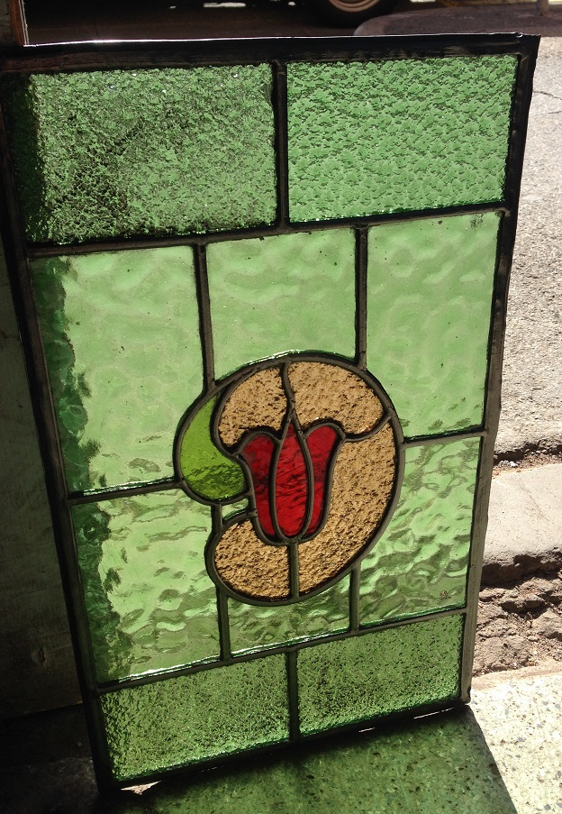 full colour leadlight window 505 x 300mm $175 salvage recycled demolition, reproduction restoration, renovation, collectable, secondhand, used, original, old, reclaimed heritage, antique restored