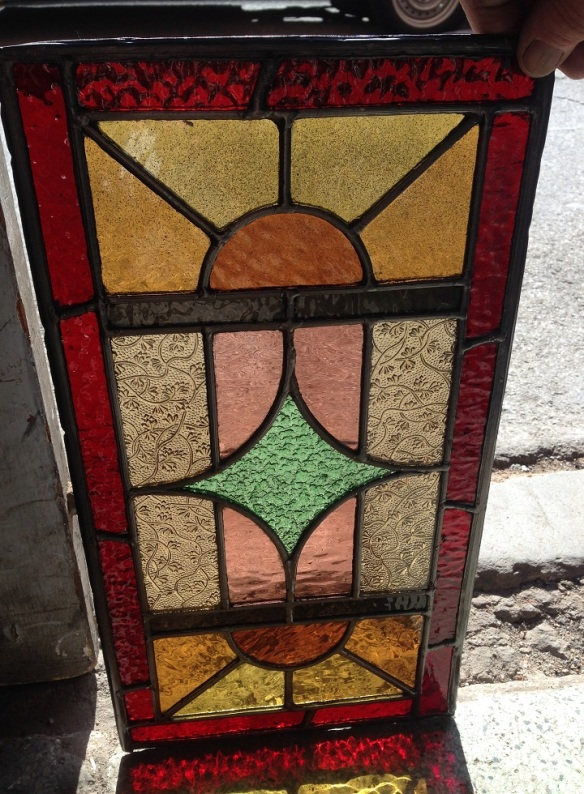 Original leadlight window panel 475 x 255mm $165 salvage recycled demolition, reproduction restoration, renovation, collectable, secondhand, used, original, old, reclaimed heritage, antique restored