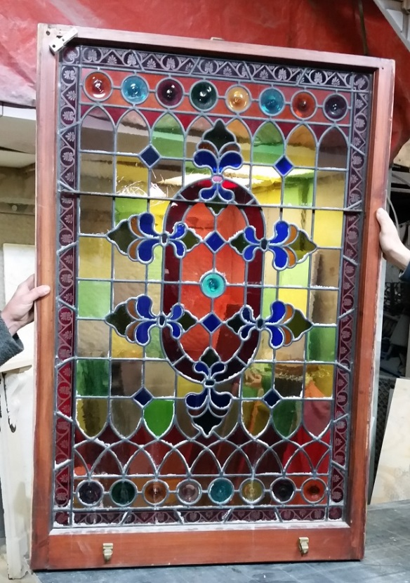 Victorian style leadlight, full colour with rondells, window not in frame 815w x 1220mm high $1200 salvage recycled demolition, reproduction restoration, renovation, collectable, secondhand, used, original, old, reclaimed heritage, antique restored