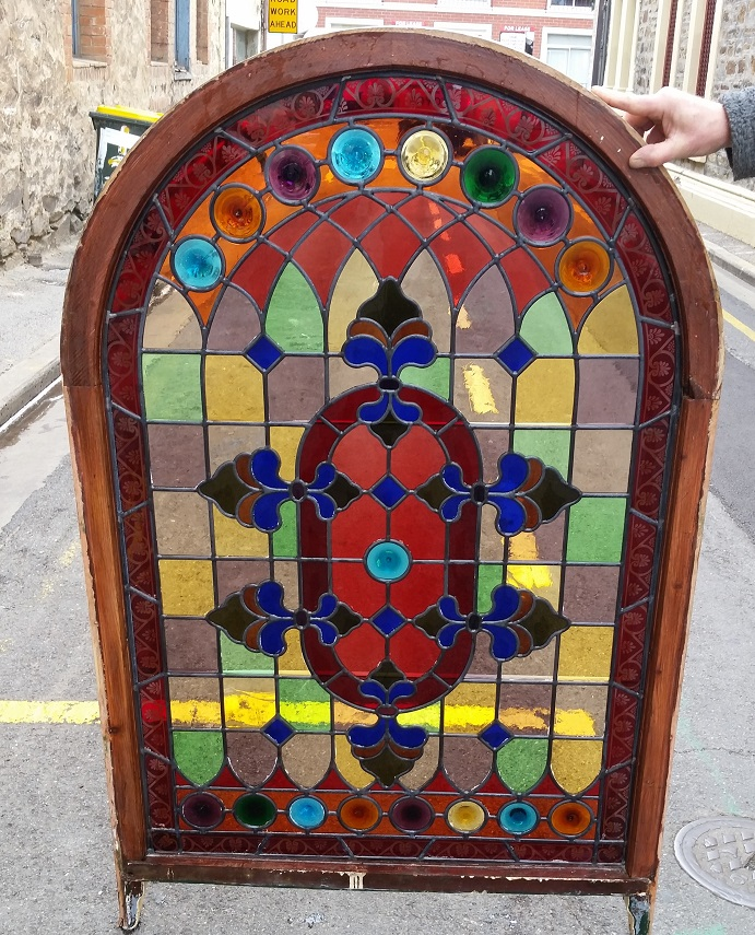Victorian style arch leadlight, full colour with rondells, window not in frame 815w x 1230mm high $1200 salvage recycled demolition, reproduction restoration, renovation, collectable, secondhand, used, original, old, reclaimed heritage, antique restored