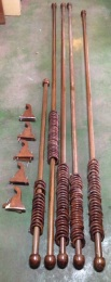 Timber curtain rods and rings, most approx 2.6m length $300 the lot salvage recycled demolition, reproduction restoration, renovation, collectable, secondhand, used, original, old, reclaimed heritage, antique restored