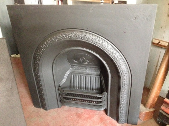 Restored original cast iron fireplace insert, $550 salvage recycled demolition, reproduction restoration, renovation, collectable, secondhand, used, original, old, reclaimed heritage, antique restored