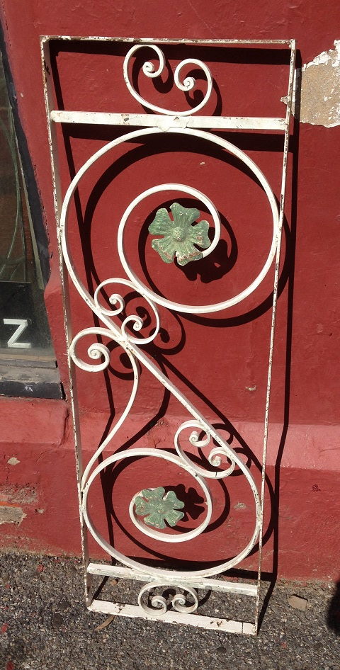 Decorative wrought iron panel 350 x 1090mm, $220 salvage recycled demolition, reproduction restoration, renovation, collectable, secondhand, used, original, old, reclaimed heritage, antique restored