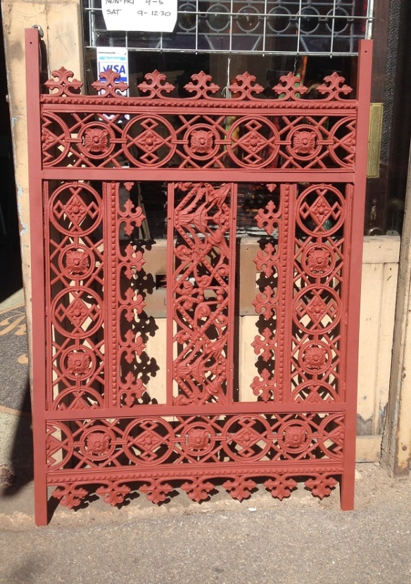 salvaged, recycled, demolition, reproduction, restoration, renovation, collectable, second hand, used, original, old, reclaimed, heritage, Victorian, Edwardia, Deco, Georgian pair of decorative panels, cast iron panels in steel frame , 950 mm wide x 1400 mm tall , $440 each