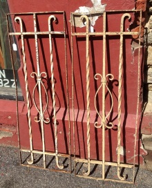 Decorative wrought iron panels 380 x 1075mm, 2 available $220 each salvage recycled demolition, reproduction restoration, renovation, collectable, secondhand, used, original, old, reclaimed heritage, antique restored