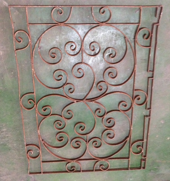 Decorative wrought iron panel 905 x 750mm, $220 salvage recycled demolition, reproduction restoration, renovation, collectable, secondhand, used, original, old, reclaimed heritage, antique restored