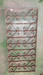 Decorative wrought iron panel 1075 x 495mm, 2 available, $220 each salvage recycled demolition, reproduction restoration, renovation, collectable, secondhand, used, original, old, reclaimed heritage, antique restored