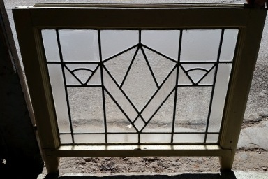 original art deco leadlight 600mm wide x 450mm high frame size 715mmwide x 540mmhigh $245 salvage recycled demolition, reproduction restoration, renovation, collectable, secondhand, used, original, old, reclaimed heritage, antique restored stained glass