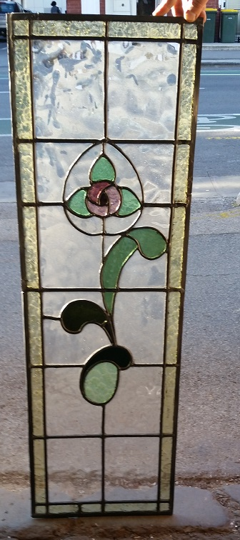 original leadlight, floral motif, green and pink with pale yellow border glass, 330mm wide x 1000mm high $330 salvage recycled demolition, reproduction restoration, renovation, collectable, secondhand, used, original, old, reclaimed heritage, antique restored
