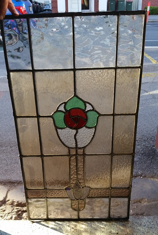original leadlight panel, red rose, green leaves, pale brown/amber background 835 mm x 450 mm, $330 salvage recycled demolition, reproduction restoration, renovation, collectable, secondhand, used, original, old, reclaimed heritage, antique restored