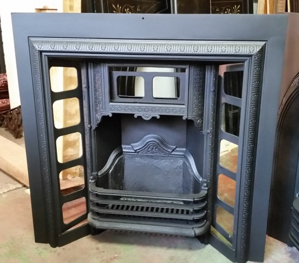 Original, restored cast iron fireplace insert ornate casting $575 salvage recycled demolition, reproduction restoration, renovation, collectable, secondhand, used, original, old, reclaimed heritage, antique restored