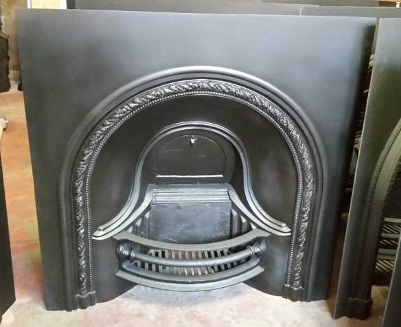 Original, restored cast iron fireplace insert, large burning basket $900 salvage recycled demolition, reproduction restoration, renovation, collectable, secondhand, used, original, old, reclaimed heritage, antique restored