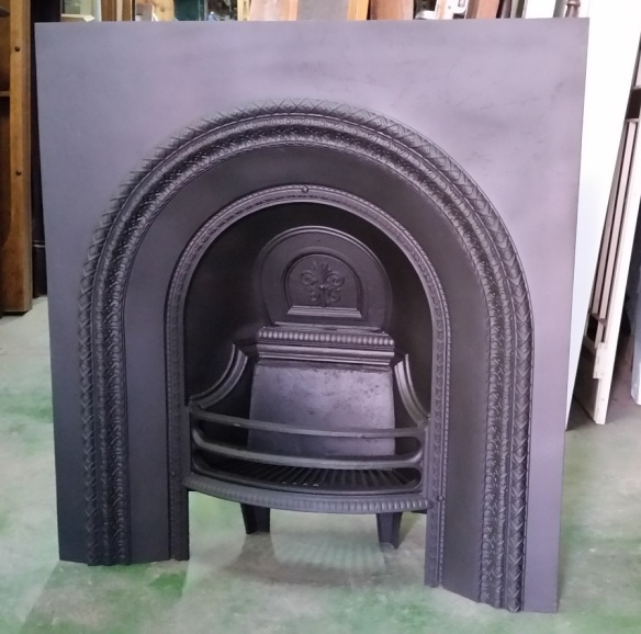 Original arch cast iron fireplace insert $550 salvage recycled demolition, reproduction restoration, renovation, collectable, secondhand, used, original, old, reclaimed heritage, antique restored