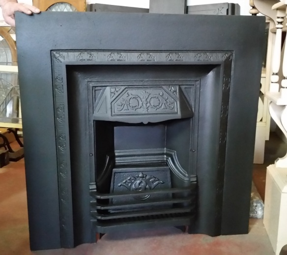 Original No. 50 cast iron fireplace insert $550 salvage recycled demolition, reproduction restoration, renovation, collectable, secondhand, used, original, old, reclaimed heritage, antique restored