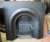 Restored original arch cast iron fire place insert ivy border pattern $550 salvage recycled demolition, reproduction restoration, renovation, collectable, secondhand, used, original, old, reclaimed heritage, antique restored